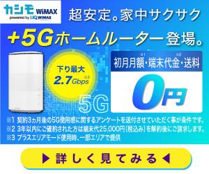 カシモWiMAX 5Gプラン ホームルーター