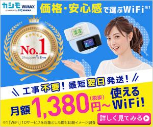 カシモWiMAX業界最安級月額1,380円